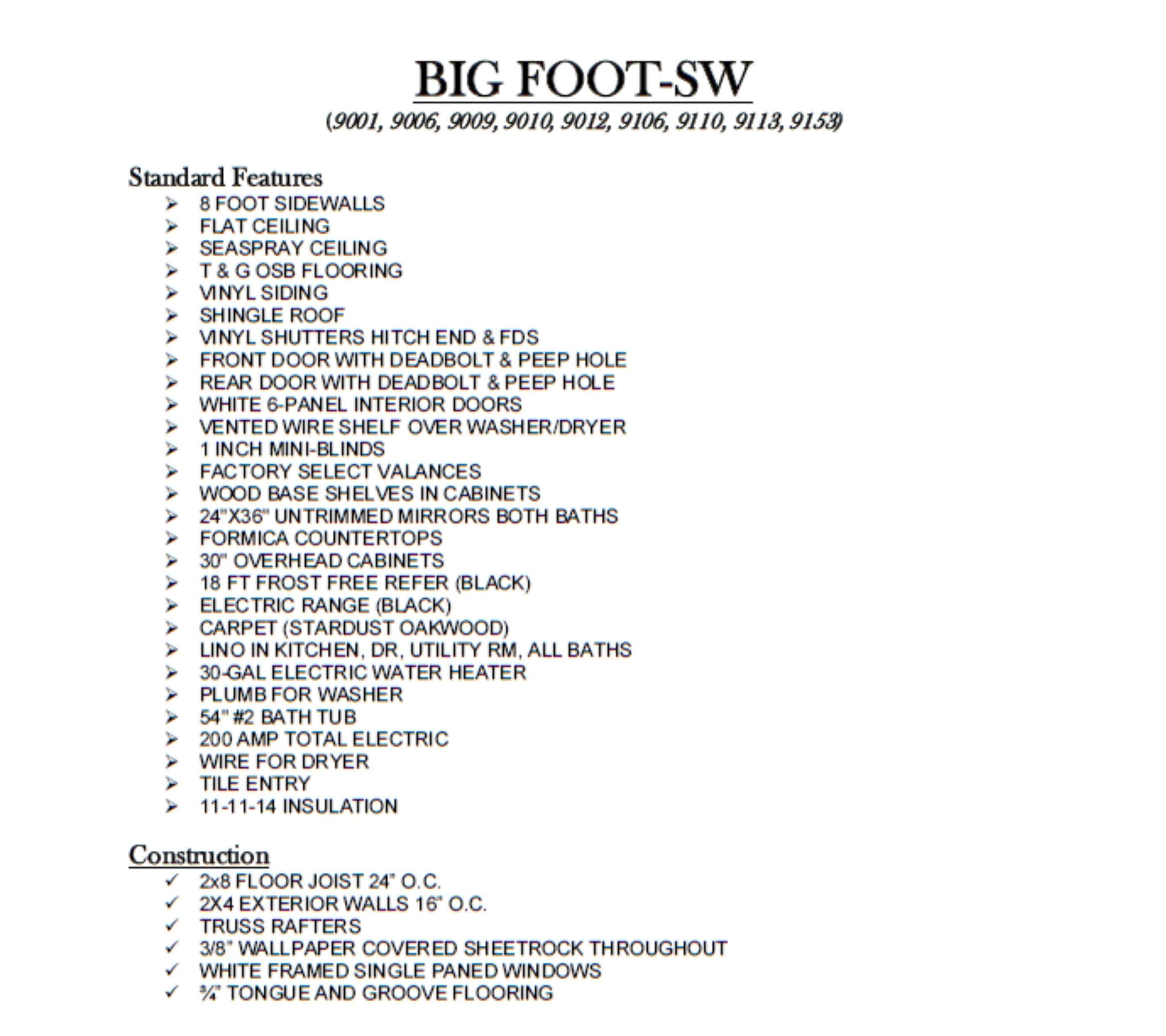 Big Foot SW Single Wide Standard Features
