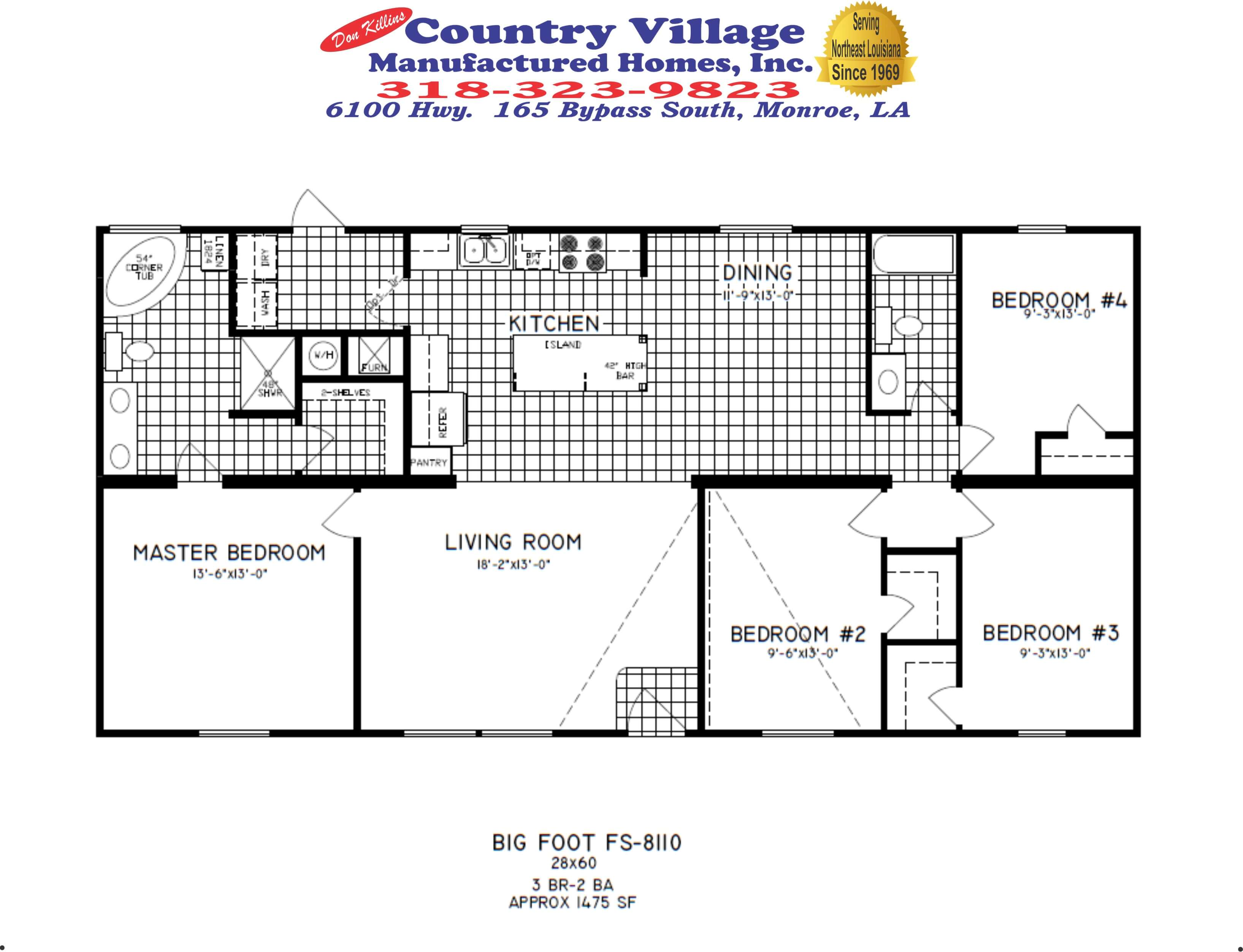 Double Wide Floorplans Don Killins Country Village Manufactured Homes Inc