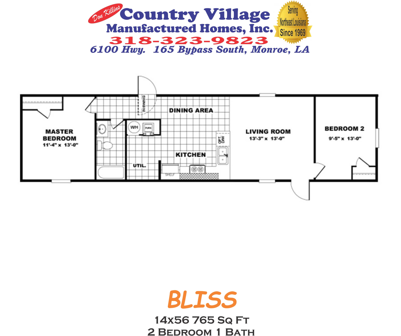 BLISS 14x56 765 sq ft 2+1