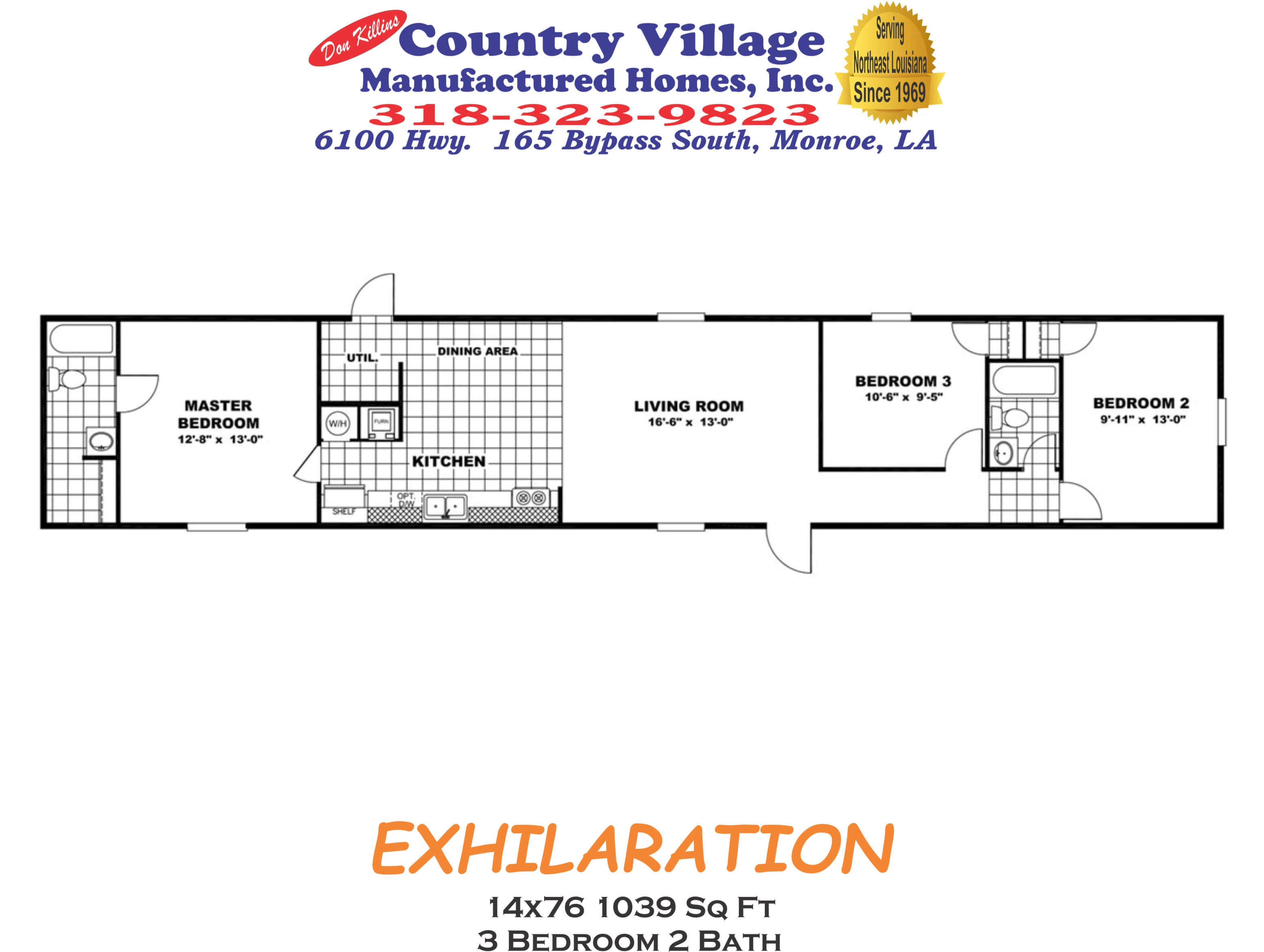 EXHILATION 14x76 1039 sq ft 3+2