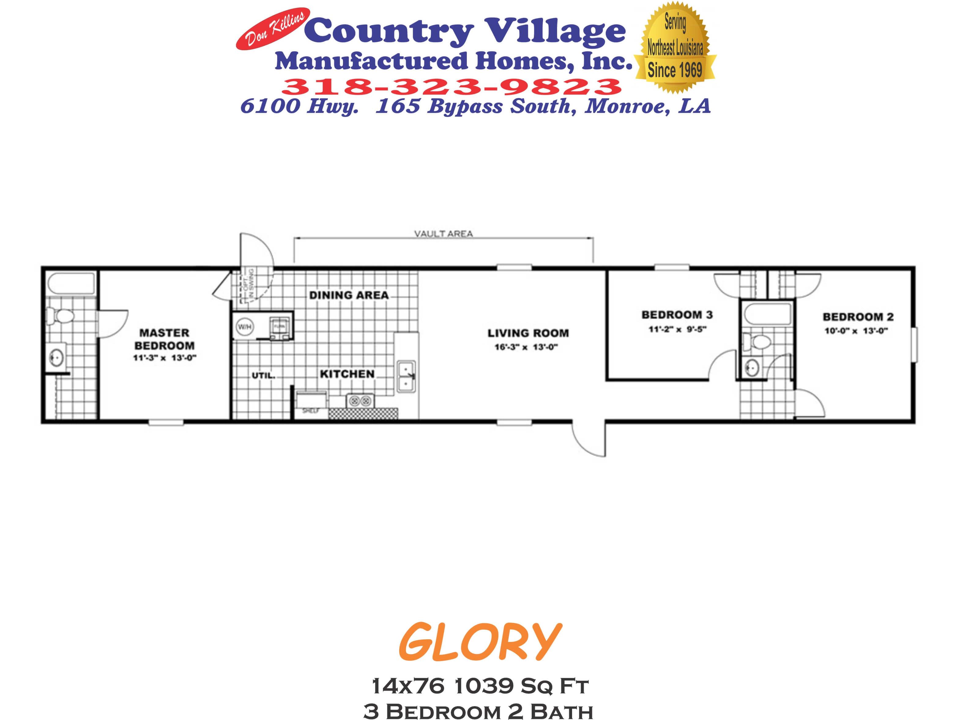 GLORY 14x76 1039 sq ft 3+2