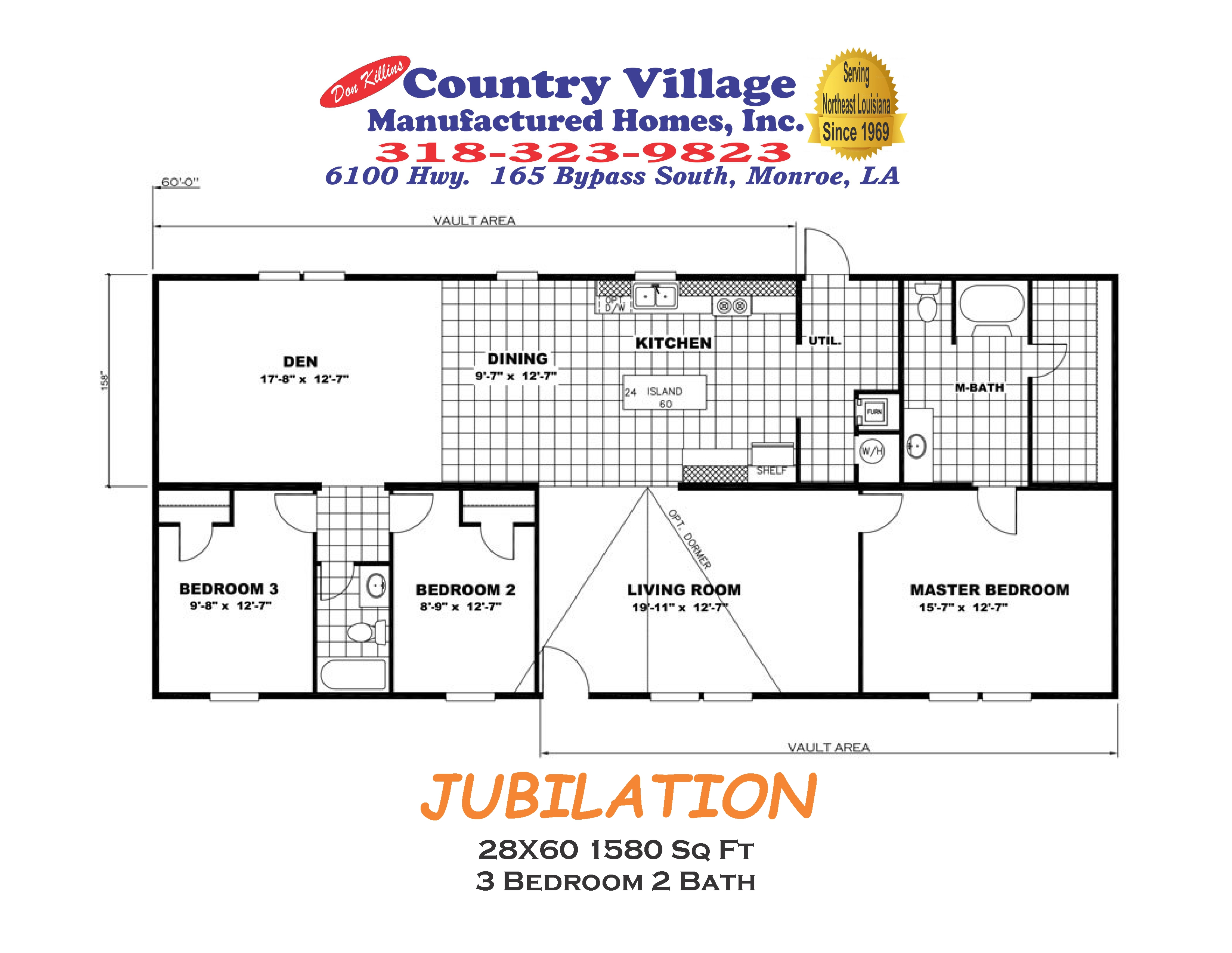 JUBILATION 28X60 1580 sq ft 3+2